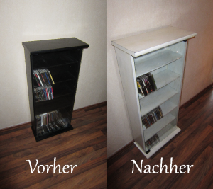 diy tutorial shabby chic cd regal selber machen. Black Bedroom Furniture Sets. Home Design Ideas